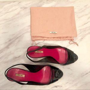 Miu Miu sling back kitten heels patent leather